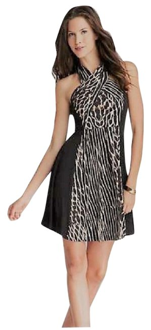Item - Black Criss-cross Halter Print Mid-length Night Out Dress Size 6 (S)