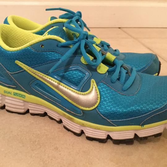 Nike Metallic Blue and Neon Yellow Athletic Image 2