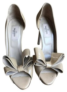 Valentino Designer Classic Neutral Formal Open Toe Nude Pumps