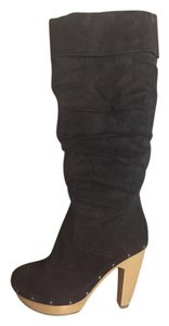 ShoeDazzle Suede Slouch Knee High Brown Boots