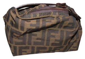 Fendi Mint Vintage Timeless Style Clutch/cosmetic Great For Travel Wristlet in large F logo print canvas and dark brown leather
