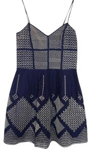Parker short dress navy and white Summer Comfortable Classic Linen on Tradesy