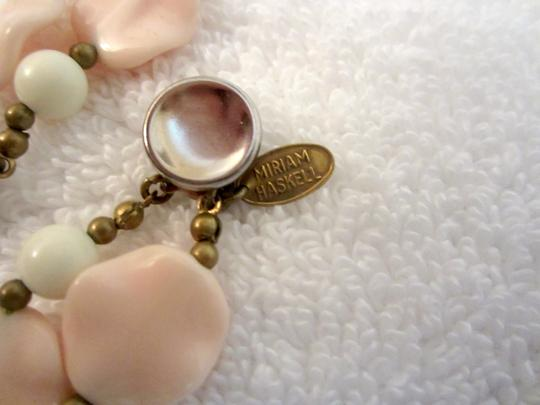 Miriam Haskell Miriam Haskell Pink Petals Pendant Necklace White Double Floral Signed