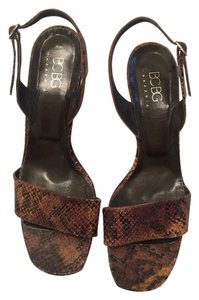 BCBG Max Azria brown snake skin Sandals