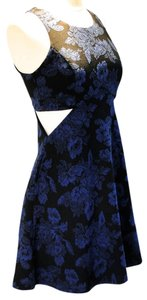 Mimi Chica short dress Blue & Black Floral Sleeveless Side Cut Out Skater Above The Knee Geometric Medium M New Easter Formal Graduation 8 10 on Tradesy