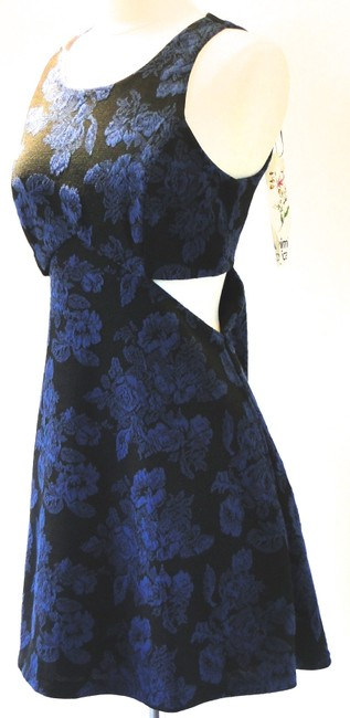 Mimi Chica short dress Blue & Black Floral Sleeveless Side Cut Out Skater Mini Above The Knee Geometric Medium M Nwt New Easter Formal Graduation 8 10 on Tradesy