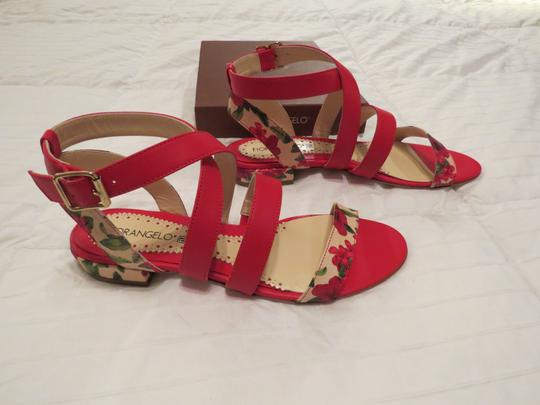 Fiorangelo Floral Accents Lovely Design Made Made In Italy Red Sandals
