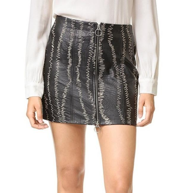 Free People Genuine Leather Croc Embossed Exposed Front Zip Zigzag Stitching Rocker Chic Mini Skirt Black