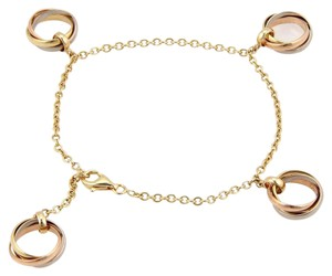 Cartier Trinity 18k Tri-Color Gold 4 Rolling Ring Charm Chain Bracelet Cert