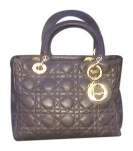 Dior Christian Hand Lambskin Cannage Pattern Satchel in Black