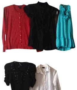 Moda International Button Down Shirt Black, White, Red, Turquoise