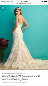 Allure Bridals Allure 9250 Mermaid Lace Strapless Wedding Dress