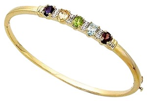 Other New. Natural Gemstone, Diamond Accent, Gold and Rhodium over brass