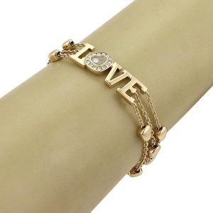 Chopard Happy Diamond 18k Yellow Gold Triple Strand Hearts Charm LOVE Bracelet