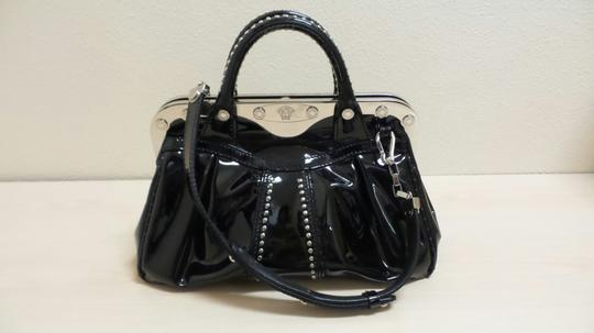 Versace Patent Leather Studdded Satchel in black