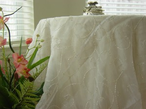 White Table Cloth With Beads