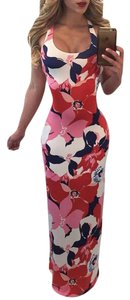 Red Pink Multi Color Maxi Dress by Other