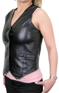 USA Leather Motorcycle Vest