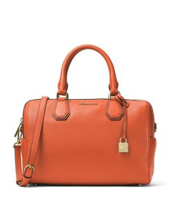 Michael Kors Leather Crossbody Mercer Satchel in Orange