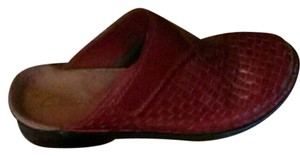 Clarks Leather red Mules