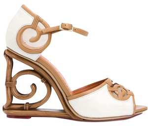 Charlotte Olympia Sandals Ivory and Tan Wedges