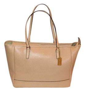 Coach Saffiano Leather Tote in Camel