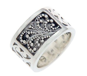 Lois Hill LOIS HILL 925 Sterling Silver Wide Scroll Cigar Band Ring Size 7