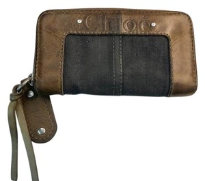 Chloé Chloe Blue Denim and Brown Leather Long Wallet