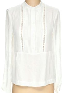 1.STATE Longsleeve Pleated Button-front Top White
