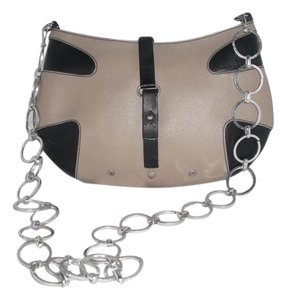 Trussardi Beige/Black Leather Chain Strap Saffiano Shoulder Bag