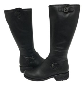 La Canadienne Knee High Leather Waterproof Stacked Heel Black Leather Boots