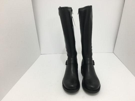 La Canadienne Knee High Waterproof Stacked Black Leather Boots
