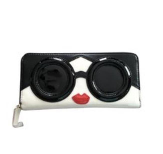 Item - Black and White Long Rare Stace Face Patent Wallet
