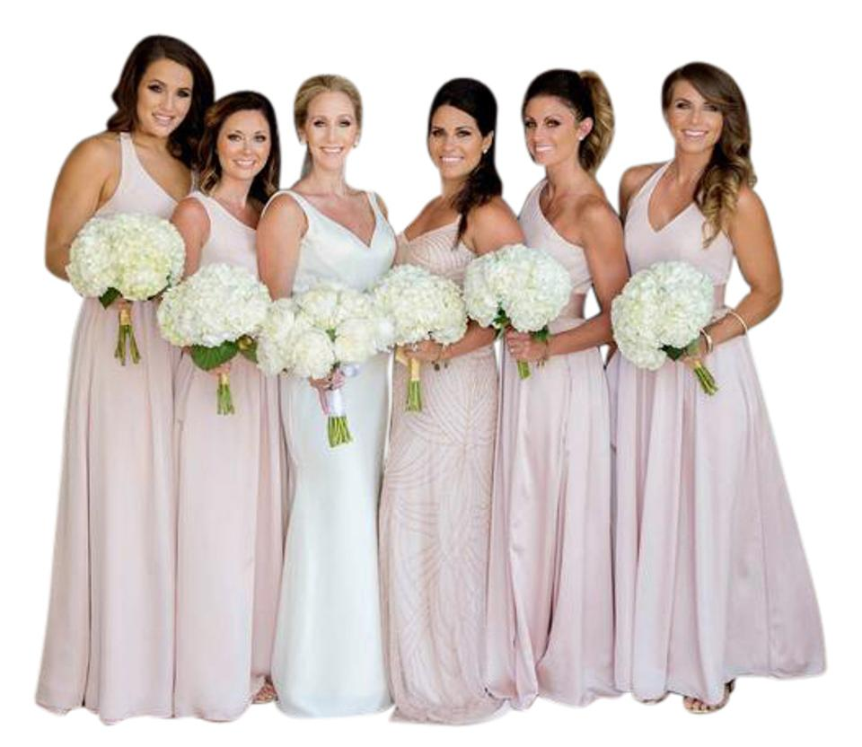 2cd5f3bafae7 White by Vera Wang Blush V Neck Halter Gown with Sash Style: Vw360214  Formal Dress