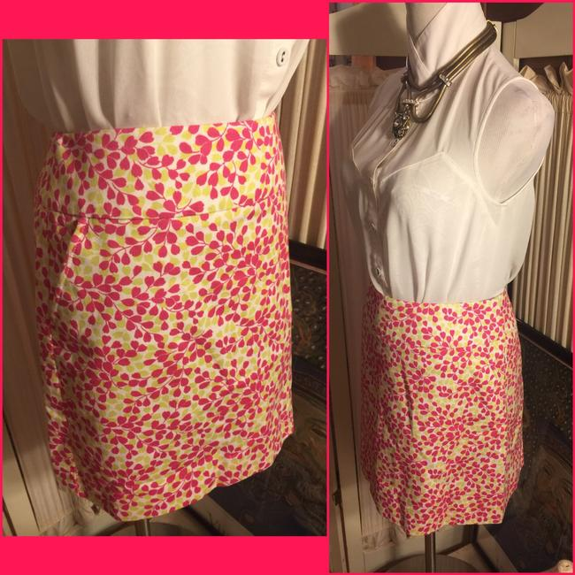 J.Crew Mini Skirt White/FUSCIA/Lime Green
