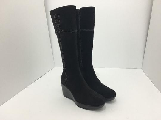 La Canadienne Knee High Waterproof Wedge High Brown Suede Boots