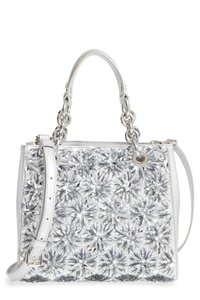 Michael Kors Flora Burst North South Leather Satchel in Silver