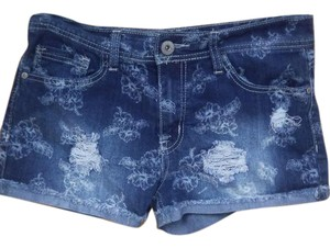 Rue 21 Flower Distressed High Waisted Shorts Blue