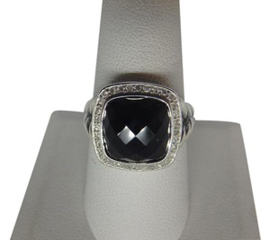 David Yurman 11mm Albion Ring with Onyx and Diamonds size 9