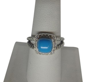 David Yurman Petite Albion Ring with Turquoise and Diamonds size 8 w/ pouch