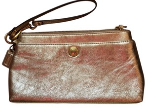 Coach Leather Cream Tan Unique Neutral Color Gold Clutch