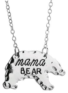Other Mama Bear Silver Hammered Edge Mom Necklace