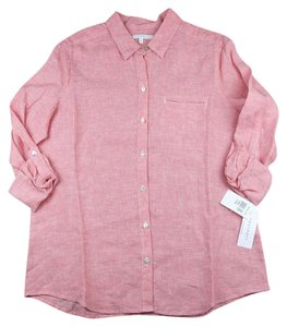 Foxcroft Linen Shirt Button Down Shirt Coral