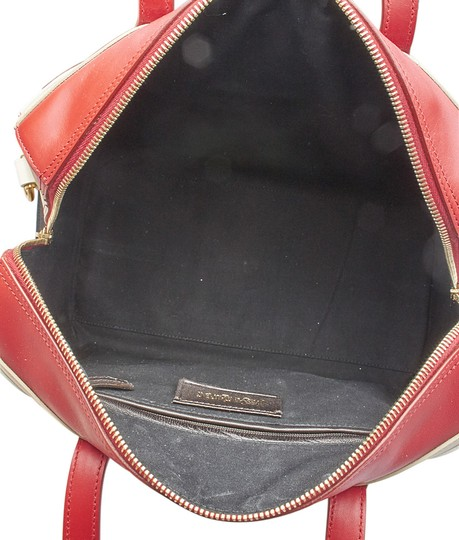 Saint Laurent Yves Leather Satchel in Red,White