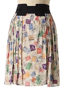 Anthropologie Multicolor Pleated Postage Stamp Airmail Edme & Eysllte Mini Skirt