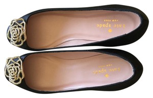 Kate Spade Crystal Satin Black Flats
