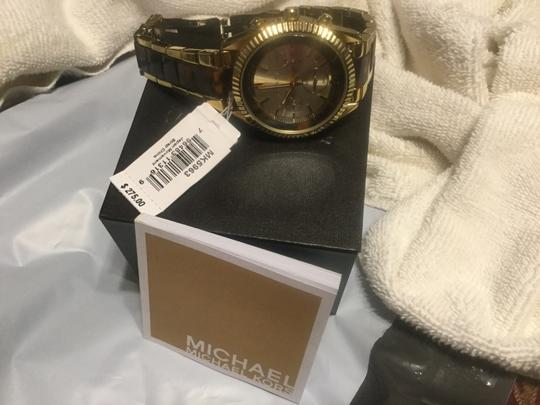 Michael Kors Michael Kors Tortoise Brown Tan Wristwatch Watch Gold With Links