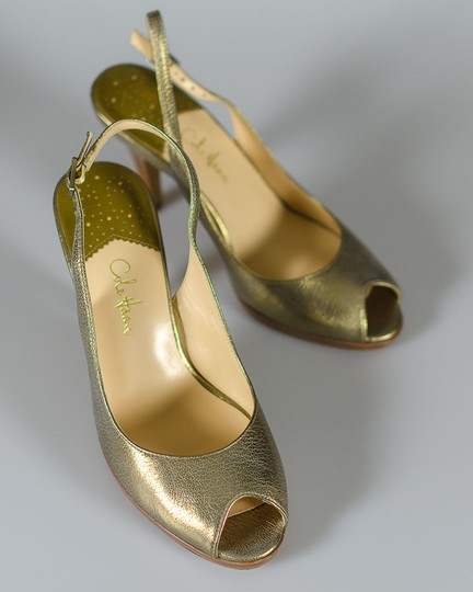 Cole Haan Leather Tumbled Gold Pumps