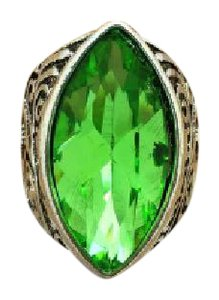 Other Size Eight 8 Stainless Steel Ring With Green Crystal