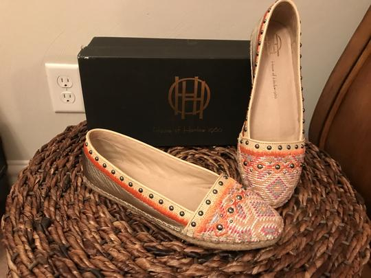House of Harlow 1960 Light Gold Multi Canvas Flats